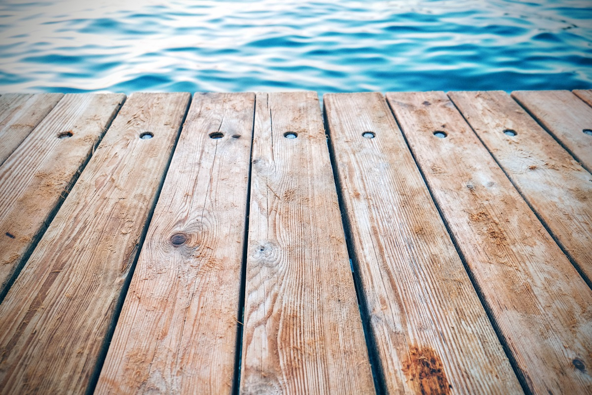 wood decking material on a dock